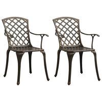 vidaXL Krzesła ogrodowe 2 szt., odlewane aluminium, brązowe