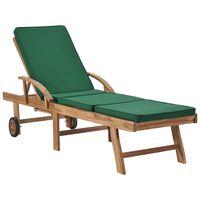 vidaXL Leżak z poduszką, lite drewno tekowe, zielony
