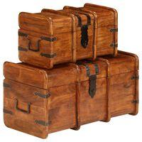 vidaXL Zestaw 2 skrzyń, drewno akacjowe stylizowane na sheesham