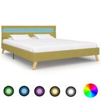 vidaXL Rama łóżka z LED, zielona, tkanina, 140 x 200 cm