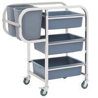 vidaXL Wózek kuchenny z plastikowymi pojemnikami, 87x43,5x92 cm