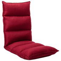 vidaXL Składane krzesło podłogowe, winna czerwień, tkanina