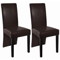 vidaXL Krzesła stołowe, 2 szt., ciemnobrązowe, sztuczna skóra