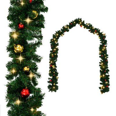 vidaXL Świąteczna girlanda ozdobiona bombkami i lampkami LED, 5 m
