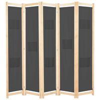 vidaXL Parawan 5-panelowy, szary, 200 x 170 x 4 cm, tkanina