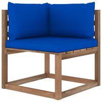 vidaXL Ogrodowa sofa narożna z palet, z niebieskimi poduszkami