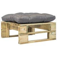 vidaXL Ogrodowe siedzisko z palet z szarą poduszką, drewno
