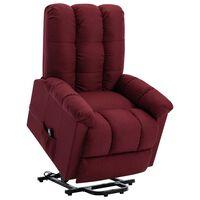 vidaXL Fotel podnoszony, rozkładany, winna czerwień, obity tkaniną