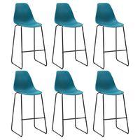 vidaXL Krzesła barowe, 6 szt., turkusowe, plastik
