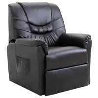 vidaXL Fotel rozkładany, czarny, sztuczna skóra