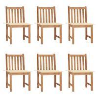 vidaXL Krzesła ogrodowe z poduszkami, 6 szt., lite drewno tekowe