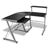 vidaXL Biurko komputerowe z ruchomą półką na klawiaturę, czarne