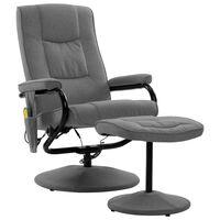 vidaXL Rozkładany fotel do masażu z podnóżkiem, jasnoszary, tkanina