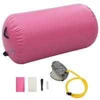 vidaXL Dmuchany wałek gimnastyczny z pompką, 120x90 cm, PVC, różowy