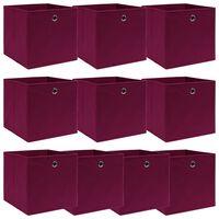 vidaXL 10 pudełek z pokrywami, ciemnoczerwone, 32x32x32 cm, tkanina