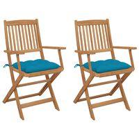 vidaXL Składane krzesła ogrodowe z poduszkami, 2 szt., drewno akacjowe