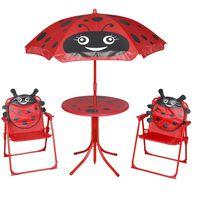 vidaXL 3-cz. dziecięcy zestaw mebli do ogrodu, z parasolem, czerwony