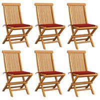 vidaXL Krzesła ogrodowe, czerwone poduszki, 6 szt., drewno tekowe