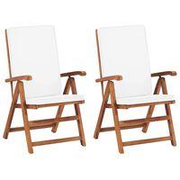 vidaXL Rozkładane krzesła ogrodowe z poduszkami, 2 szt., drewno tekowe