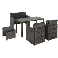 vidaXL 6-cz. zestaw mebli ogrodowych z poduszkami, rattan PE, szary