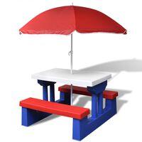 vidaXL Stół dla dzieci z ławkami i parasolem, wielokolorowy