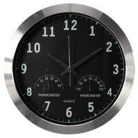 Perel Zegar ścienny, 35,5 cm, czarno-srebrny