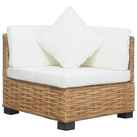 vidaXL Narożna sofa z poduszkami, naturalny rattan