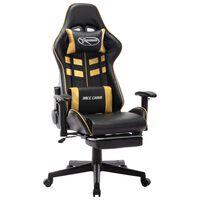 vidaXL Fotel dla gracza z podnóżkiem, czarno-złoty, sztuczna skóra