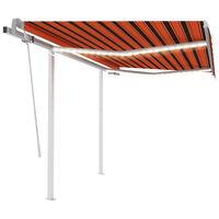 vidaXL Ręcznie zwijana markiza z LED, 3x2,5 m, pomarańczowo-brązowa