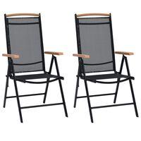 vidaXL Składane krzesła ogrodowe, 4 szt., aluminium/textilene, czarne