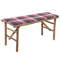 vidaXL Składana ławka ogrodowa z poduszką, 118 cm, bambusowa