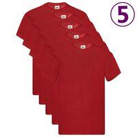 Fruit of the Loom Oryginalne T-shirty, 5 szt., czerwone, L, bawełna