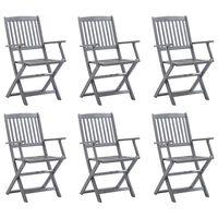 vidaXL Składane krzesła ogrodowe, 6 szt., lite drewno akacjowe