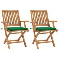 vidaXL Krzesła ogrodowe, 2 szt., zielone poduszki, drewno tekowe