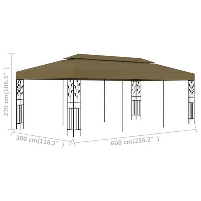vidaXL Altana, 6 x 3 m, taupe, 180 g/m²