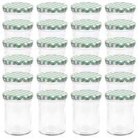 vidaXL Szklane słoiki na dżem, biało-zielone pokrywki, 24 szt., 400 ml