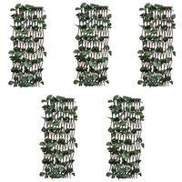 vidaXL Płot kratka, wierzba ze sztucznymi listkami, 5 szt., 180x60 cm