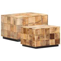 vidaXL Stoliki kawowe, 2 szt., w formie bloków, surowe drewno mango