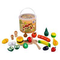Happy People Drewniane warzywa i owoce do krojenia, wielokolorowe
