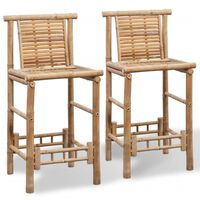 vidaXL Stołki barowe, 2 szt., bambus