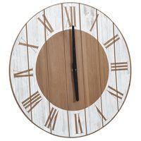 vidaXL Zegar ścienny, brązowo-biały, 39,5 cm, MDF