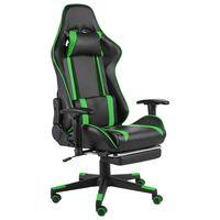 vidaXL Obrotowy fotel gamingowy z podnóżkiem, zielony, PVC