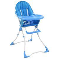 vidaXL Krzesełko do karmienia dzieci, niebiesko-białe