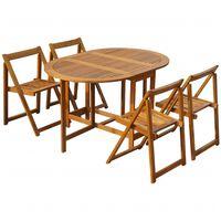 vidaXL 5-cz. zestaw składanych mebli ogrodowych, lite drewno akacjowe