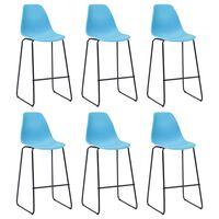 vidaXL Krzesła barowe, 6 szt., niebieskie, plastik