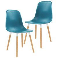 vidaXL Krzesła do jadalni, 2 szt., turkusowe, plastik