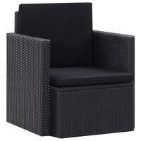vidaXL Fotel ogrodowy z poduszkami, polirattan, czarny