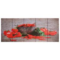 vidaXL Zestaw obrazów z nadrukiem papryk, kolorowy, 150x60 cm