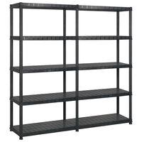 vidaXL Regał 5-poziomowy, czarny, 170x40x185 cm, plastik
