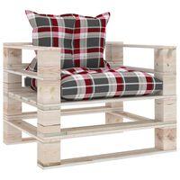 vidaXL Sofa ogrodowa z palet, z poduszkami w czerwoną kratę, sosna